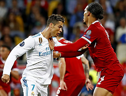 Cristiano Ronaldo of Real Madrid CF , Virgil van Dijk of Liverpool FC during the UEFA Champions League final between Real Madrid and Liverpool on May 26, 2018 at NSC Olimpiyskiy Stadium in Kyiv, Ukraine