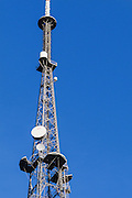 Television broadcast antenna on a lattice tower used for tv transmission at Mt Coot-tha, Brisbane, Queensland, Australia <br /> <br /> Editions:- Open Edition Print / Stock Image