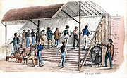 Treadmill at Brixton prison, London. Introduced for prison discipline by William Cubitt of Ipswich. Print published by Ackermann, London, 1827. Hand-coloured engraving.
