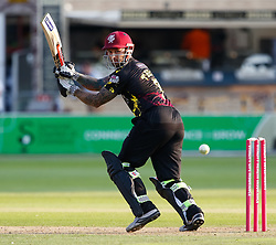 Somerset's Peter Trego guides the ball to fine leg<br /> <br /> Photographer Simon King/Replay Images<br /> <br /> Vitality Blast T20 - Round 1 - Somerset v Gloucestershire - Friday 6th July 2018 - Cooper Associates County Ground - Taunton<br /> <br /> World Copyright © Replay Images . All rights reserved. info@replayimages.co.uk - http://replayimages.co.uk