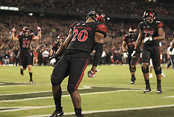 September 16, 2017 - San Diego, CA, USA - San Diego State running back Rashaad Penny celebrates his 4-yard touchdown run in the second quarter against Stanford at Jack Murphy Stadium in San Diego on Saturday, Sept. 16, 2017. (Credit Image: © Hayne Palmour Iv/TNS via ZUMA Wire)