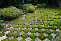 Northern Garden, Tofukuji Hojo Temple.  Square cut stones and moss are distributed in a chequered pattern. Though modern in its style and composition, this is one of the most unique gardens in Japan.  Renowned landscape architect and garden designer Shigemori Mirei designed this garden in an ichimatsu inspired checked pattern.