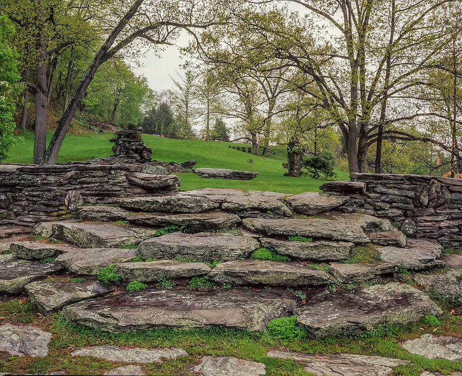 Stone steps & stone walls, Innisfree Gardens, oak trees in spring, Millbrook, NY