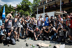 06.06.2015, Garmisch Partenkirchen, GER, G7 Gipfeltreffen auf Schloss Elmau, Circa 5000 Menschen demonstrieren in Garmisch-Patenkirchen gegen den G7-Gipfel im benachbarten Elmau, im Bild Gegenschuss auf Fotografen die die Demo fotografieren // uring Protest of the G7 opponents prior to the scheduled G7 summit which will be held from 7th to 8th June 2015 in Schloss Elmau near Garmisch Partenkirchen, Germany on 2015/06/06. EXPA Pictures © 2015, PhotoCredit: EXPA/ Eibner-Pressefoto/ Gehrling<br /> <br /> *****ATTENTION - OUT of GER*****
