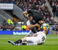 Picture by Andrew Tobin/SLIK images +44 7710 761829. 2nd December 2012. Brad Barritt and Owen Farrell of England tackle Ma'a Nonu of New Zealand during the QBE Internationals match between England and the New Zealand All Blacks at Twickenham Stadium, London, England. England won the game 38-21.