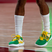 TOKYO, JAPAN - JULY 25: The basketball shoes of Patty Mills #5 of Australia during the Australia V Nigeria basketball preliminary round match at the Saitama Super Arena at the Tokyo 2020 Summer Olympic Games on July 25, 2021 in Tokyo, Japan. (Photo by Tim Clayton/Corbis via Getty Images)