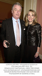 LORD & LADY BELL  at a party in London on 27th February 2001.OLO  101