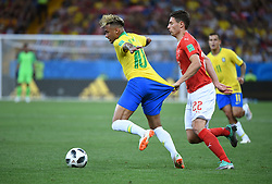 ROSTOV-ON-DON, June 17, 2018  Neymar (L) of Brazil is fouled by Fabian Schaer of Switzerland during a group E match between Brazil and Switzerland at the 2018 FIFA World Cup in Rostov-on-Don, Russia, June 17, 2018. (Credit Image: © Li Ga/Xinhua via ZUMA Wire)