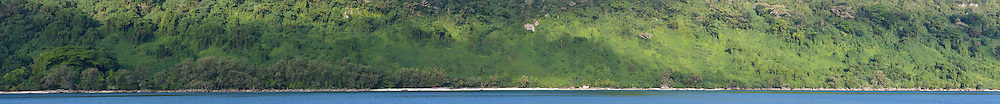 Panoramic image of a wide cliff covered in dense vegetation, near Paul's Rock, on the eastern side of Efate, Vanuatu. The image is stitched from 22 individual exposures.