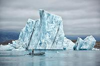 This large iceberg is part of the Vatnajokull Glacier in Jokulsarlon Lagoon, Iceland.
