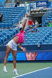 August 15, 2018 - Mason, Ohio, USA - Garbine Muguruza (ESP) serves during Wednesday's second round of the Western and Southern Open at the Lindner Family Tennis Center, Mason, Oh. (Credit Image: © Scott Stuart via ZUMA Wire)