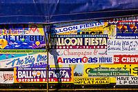 Ballooning stickers on a balloon trailer, Albuquerque International Balloon Fiesta, Albuquerque, New Mexico USA.