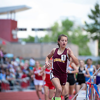 Champion Rehoboth Lynx freshman Anna Huizinga, makes the turn of the half way point in the 800m race of the NMAA 2A Girls State Championship in Albuquerque on Friday.