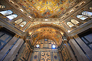 The interior of the Bapistry of Florence  Duomo ( Battistero di San Giovanni ) with the altar and  medieval ceiling mosaics of Christ and the last judgement . Florence Italy.<br /> <br /> If you prefer you can also buy from our ALAMY PHOTO LIBRARY  Collection visit : https://www.alamy.com/portfolio/paul-williams-funkystock/romanesque-art-antiquities.html . Type -   Florence Baptistry  - into the LOWER SEARCH WITHIN GALLERY box. Refine search by adding background colour, place, museum etc<br /> <br />  Visit our MEDIEVAL ROMANESQUE PHOTO COLLECTIONS for more   photos  to download or buy as prints https://funkystock.photoshelter.com/gallery-collection/Medieval-Romanesque-Art-Antiquities-Historic-Sites-Pictures-Images-of/C0000uYGQT94tY_Y .<br /> <br /> Visit our ITALY PHOTO COLLECTION for more   photos of Italy to download or buy as prints https://funkystock.photoshelter.com/gallery-collection/2b-Pictures-Images-of-Italy-Photos-of-Italian-Historic-Landmark-Sites/C0000qxA2zGFjd_k<br /> .<br /> <br /> Visit our MEDIEVAL PHOTO COLLECTIONS for more   photos  to download or buy as prints https://funkystock.photoshelter.com/gallery-collection/Medieval-Middle-Ages-Historic-Places-Arcaeological-Sites-Pictures-Images-of/C0000B5ZA54_WD0s
