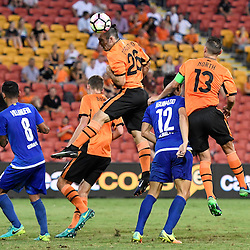 BRISBANE, AUSTRALIA - JANUARY 31: Nicholas D'Agostino of the Roar heads on goal during the second qualifying round of the Asian Champions League match between the Brisbane Roar and Global FC at Suncorp Stadium on January 31, 2017 in Brisbane, Australia. (Photo by Patrick Kearney/Brisbane Roar)