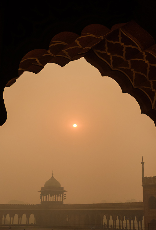 NEW DELHI, INDIA - CIRCA OCTOBER 2016: Arch on the Jama Masjid Mosque in Delhi. Constructed in red sandstone and white marble the mosque is a popular tourist attraction in Delhi.