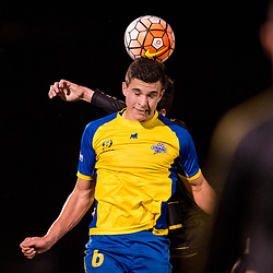 BRISBANE, AUSTRALIA - AUGUST 26: Ethan Docherty of the Strikers heads the ball during the NPL Queensland Senior Men's Semi Final match between Brisbane Strikers and Moreton Bay Jets at Perry Park on August 26, 2017 in Brisbane, Australia. (Photo by Patrick Kearney)