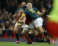 Ken Owens of Wales forces himself over to score his teams 1st try. Under Armour 2016 series international rugby, Wales v South Africa at the Principality Stadium in Cardiff , South Wales on Saturday 26th November 2016. pic by Andrew Orchard, Andrew Orchard sports photography
