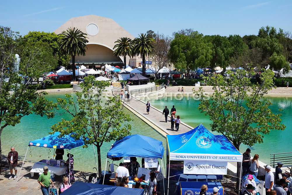 Soka University Peace Lake and Recreation Center Seen from Founders Hall During the International Festival