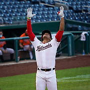 Washington Nationals left fielder Juan Soto celebrates his home run as he crosses home plate at Nationals Park on August 8, 2020.