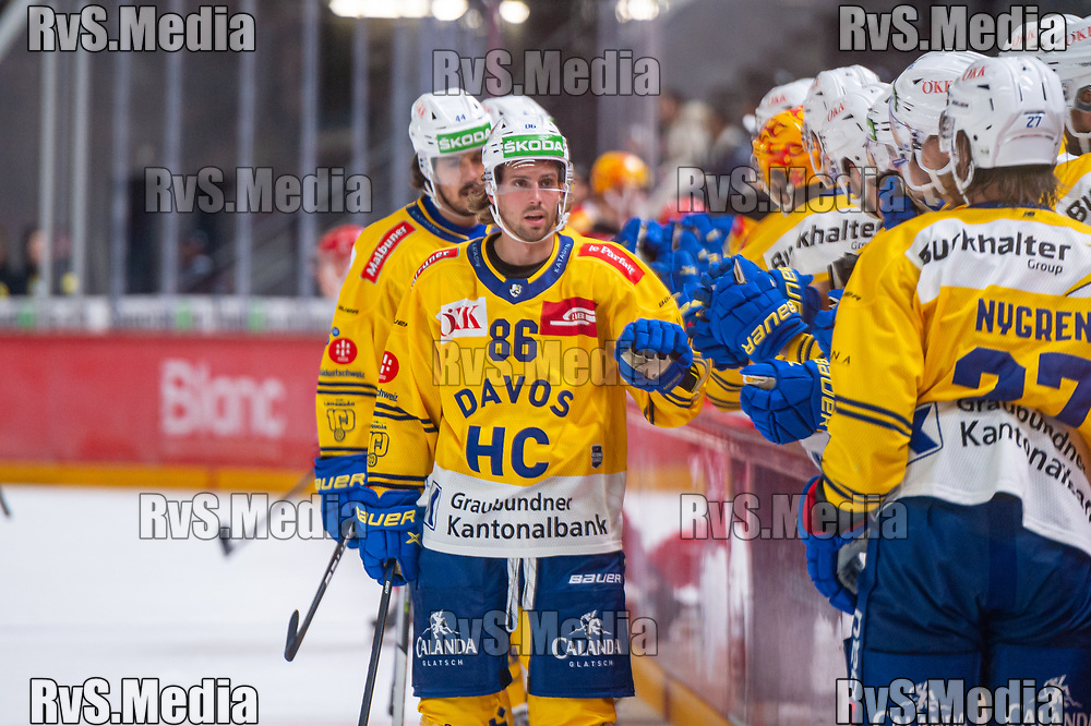 LAUSANNE, SWITZERLAND - SEPTEMBER 24: Mathias Brome #86 of HC Davos looks on during the Swiss National League game between Lausanne HC and HC Davos at Vaudoise Arena on September 24, 2021 in Lausanne, Switzerland. (Photo by Monika Majer/RvS.Media)