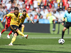 MOSCOW, June 23, 2018  Eden Hazard of Belgium scores a penalty kick during the 2018 FIFA World Cup Group G match between Belgium and Tunisia in Moscow, Russia, June 23, 2018. (Credit Image: © Xu Zijian/Xinhua via ZUMA Wire)