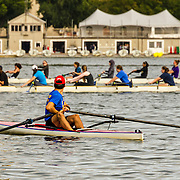 A heavy traffic day for rowers on the Charles River in Boston.  Just a moment earlier, it looked like a clean ride over to Cambridge.  Suddenly here come the 8s!