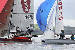 Peelport Clydeport Largs Regatta Week 2013 <br /> <br /> 18 Foot Skiff, GBR 12, Craig Hepplewhite with Catriona Annan and John Annan<br /> <br /> Largs Sailing Club, Largs Yacht Haven, Scottish Sailing Institute