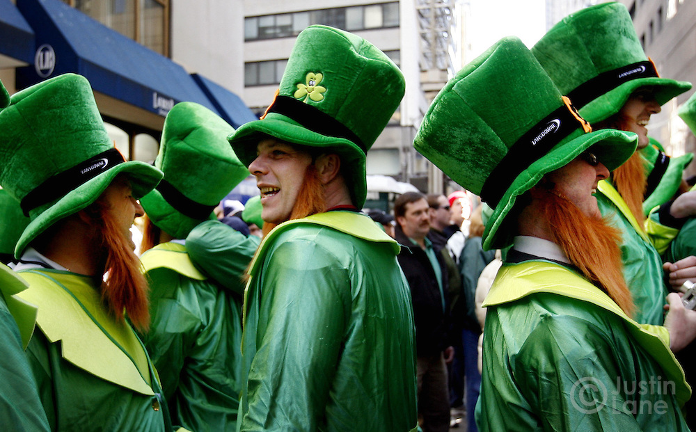A group of men dressed as leprechauns are seen watching the St. Patrick's Day parade in New York on Friday 17 March 2006. The is the 245th year for the annual parade which runs up 5th Avenue and is attended by thousands.