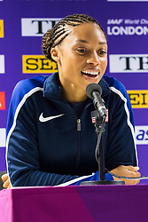 London, 03 August 2017. Allyson Felix, 2015 World 400m champion, nine-time World champion & 2017 400m world leader at Team USATF press conference ahead of the IAAF World Championships London 2017 at the London Stadium.