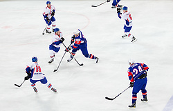 David Phillips of Great Britain vs Blaz Gregorc of Slovenia during ice-hockey match between Great Britain and Slovenia at IIHF World Championship DIV. I Group A Slovenia 2012, on April 15, 2012 in Arena Stozice, Ljubljana, Slovenia. (Photo by Vid Ponikvar / Sportida.com)