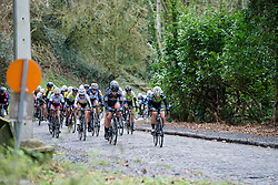Second group on the road isn't far behind the leaders - Le Samyn des Dames 2016, a 113km road race from Quaregnon to Dour, on March 2, 2016 in Hainaut, Belgium.
