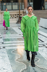 © Licensed to London News Pictures. 16/02/2019. London, United Kingdom. Model on the catwalk at the London Fashion Week AW19 catwalk show for designer Molly Goddard, held in the Foreign and Commonwealth Office.  Photo credit : Richard Isaac/LNP