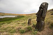 Rano Raraku - the quarry where the moais were carved, Easter Island, Chile