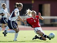 Fotball, 26. juli 2005, U21 damer, Åpent nordisk mesterskap, finale, Norge- USA 1-4,   Hilde Hansen Norge og Lauren Cheney, USA