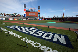 Oct 7, 2021; San Francisco, CA, USA; The field is marked for the postseason at Oracle Park, seen during NLDS workouts. Mandatory Credit: D. Ross Cameron-USA TODAY Sports