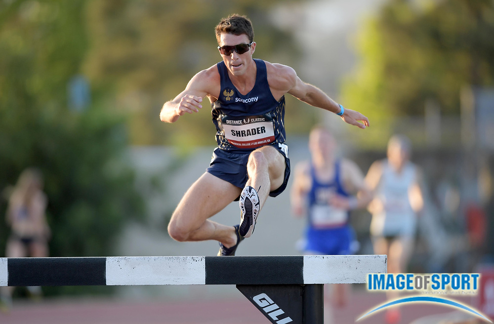 May 17, 2018; Los Angeles, CA, USA; Brian Shrader places seventh in the steeplechase in 8:45.95 during the USATF Distance Classic at Occidental College.