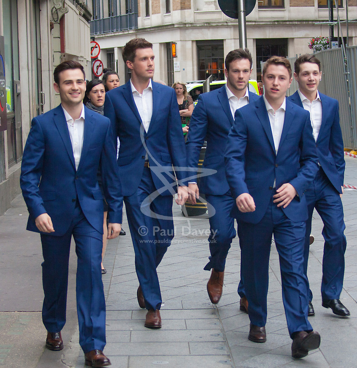 Odeon West End, London, June 16th 2014. BGT winners Collabro arrive at the Odeon West End in Leicester Square, London, for the gala Screening of Clint Eastwood's big screen version of the Tony Award winning musical Jersey Boys.