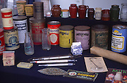 Display of antique food tins at Power of the Past event, Wantisden, Suffolk, England, UK c 2001