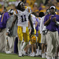 Oct 10, 2009; Baton Rouge, LA, USA; LSU Tigers linebacker Kelvin Sheppard (11) reacts on the sideline during the fourth quarter against the Florida Gators at Tiger Stadium. Florida defeated LSU 13-3. Mandatory Credit: Derick E. Hingle-US PRESSWIRE