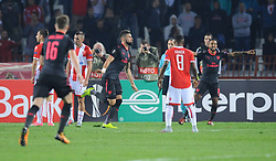 Olivier Giroud celebrates after scoring first goal for Arsenal during football match between NK Crvena Zvezda Beograd and Arsenal FC in Group H of UEFA Europa League 2017/18, on October 19, 2017 in Stadion Rajko Mitic, Belgrade, Serbia. Photo by Nebojsa Parausic / Sportida