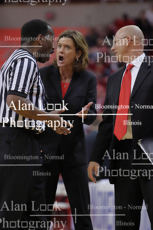 29 March 2009: Robin Pingeton lets the officials know she isn't happy with a call. The Hoosiers of Indiana fall to the Redbirds of Illinois State 66-55 during a Women's National Invitational quarterfinal game on Doug Collins Court inside Redbird Arena in Normal Illinois.
