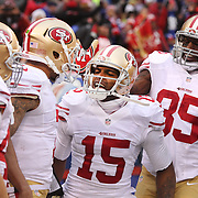 Michael Crabtree, (centre), San Francisco 49ers, celebrates his touchdown with team mates during the New York Giants V San Francisco 49ers, NFL American Football match at MetLife Stadium, East Rutherford, NJ, USA. 16th November 2014. Photo Tim Clayton