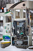 MILWAUKEE, WI – DECEMBER 16: A burned out gas pump remains at the BP filing station on Burleigh Street and Sherman Boulevard on Friday, December 16, 2016. The gas station was one target of riots and protests following the shooting of Sylville Smith in August.