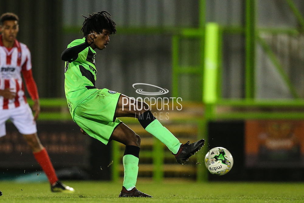 Forest Green Rovers Daniel Ogunleye(10) lays the ball off during the FA Youth Cup match between U18 Forest Green Rovers and U18 Cheltenham Town at the New Lawn, Forest Green, United Kingdom on 29 October 2018.
