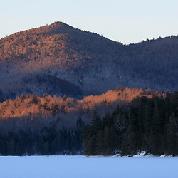 Winter morning at Henderson Lake in New York's Adirondack Mountains. Tahawus Tract, Newcomb, New York.
