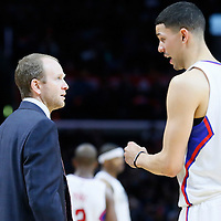 27 November 2015: Los Angeles Clippers guard Austin Rivers (25) talks to Los Angeles Clippers Assistant Coach Lawrence Frank during the Los Angeles Clippers 111-90 victory over the New Orleans Pelicans, at the Staples Center, Los Angeles, California, USA.