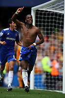 didier drogba celebrates his late winner<br /> F.A. Barclaycard Premiership. Chelsea v Hull. 15.08.09<br /> Pic By Karl Winter Fotosports International