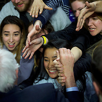 """PHILADELPHIA, PA - April 6, 2016.  Bernie Sanders greets supporters after speaking during at """"A Future to Believe"""" rally in the Liacouras Center at Temple University in Philadelphia, PA on April 6, 2016.  CREDIT: Mark Makela for The New York Times"""