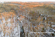 63877-01407 Aerial view of winter forest and creek Stephen A. Forbes State Park Marion Co. IL